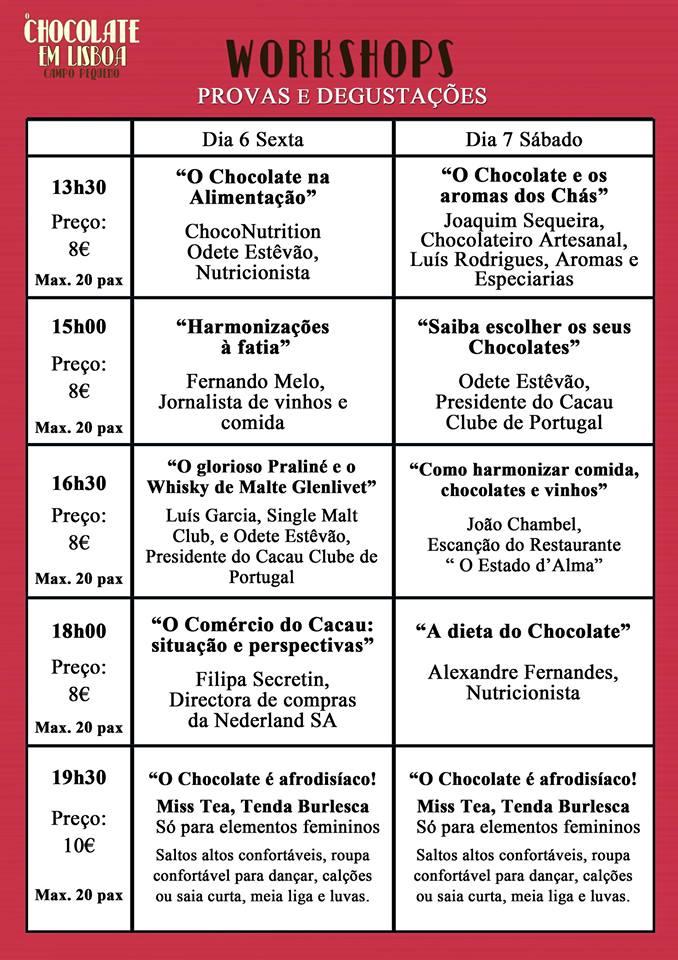 Chocolate em Lisboa - Programação