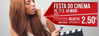 A Festa do Cinema está de volta nos dias 16, 17 e 18 de Maio. O preço continua pequenino e por cada bilhete só pagas 2.50€.