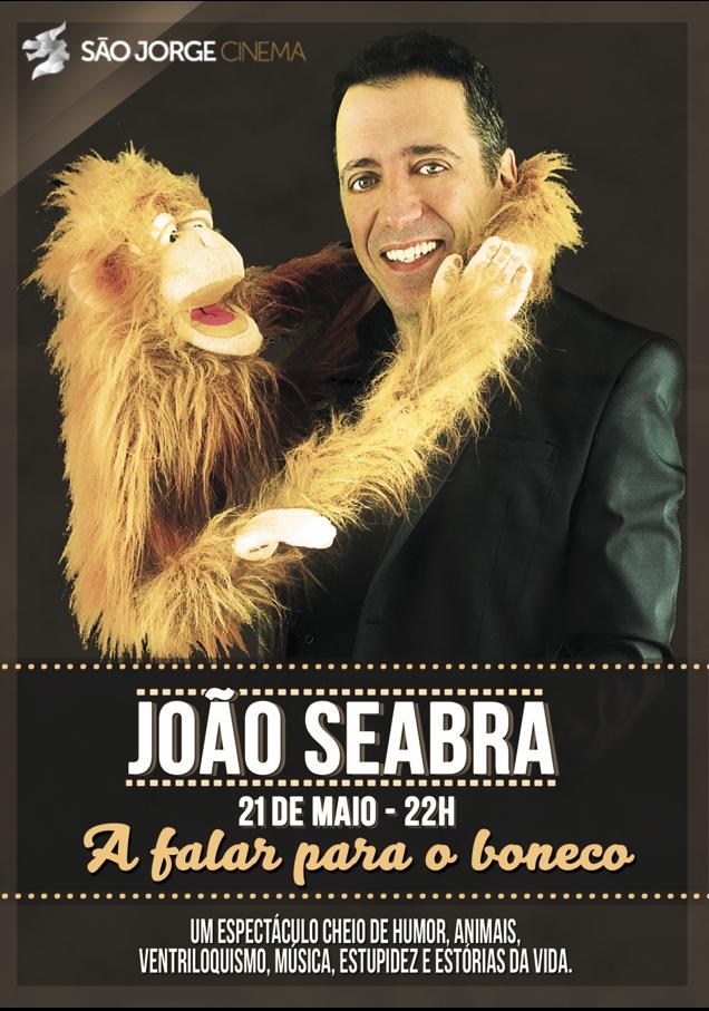 """João Seabra convida-nos para o seu espectáculo a solo, mas muito bem acompanhado pelos seus """"amigos"""", o macaco Sidónio, o burro Zoina, o velho Antunes, a avestruz Truz..."""