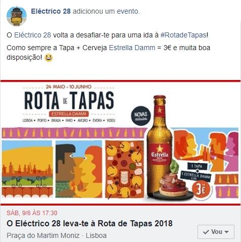 O Eléctrico 28 volta a desafiar-te para uma ida à Rota de Tapas! Como sempre a Tapa + Cerveja Estrella Damm = 3€ e muita boa disposição!