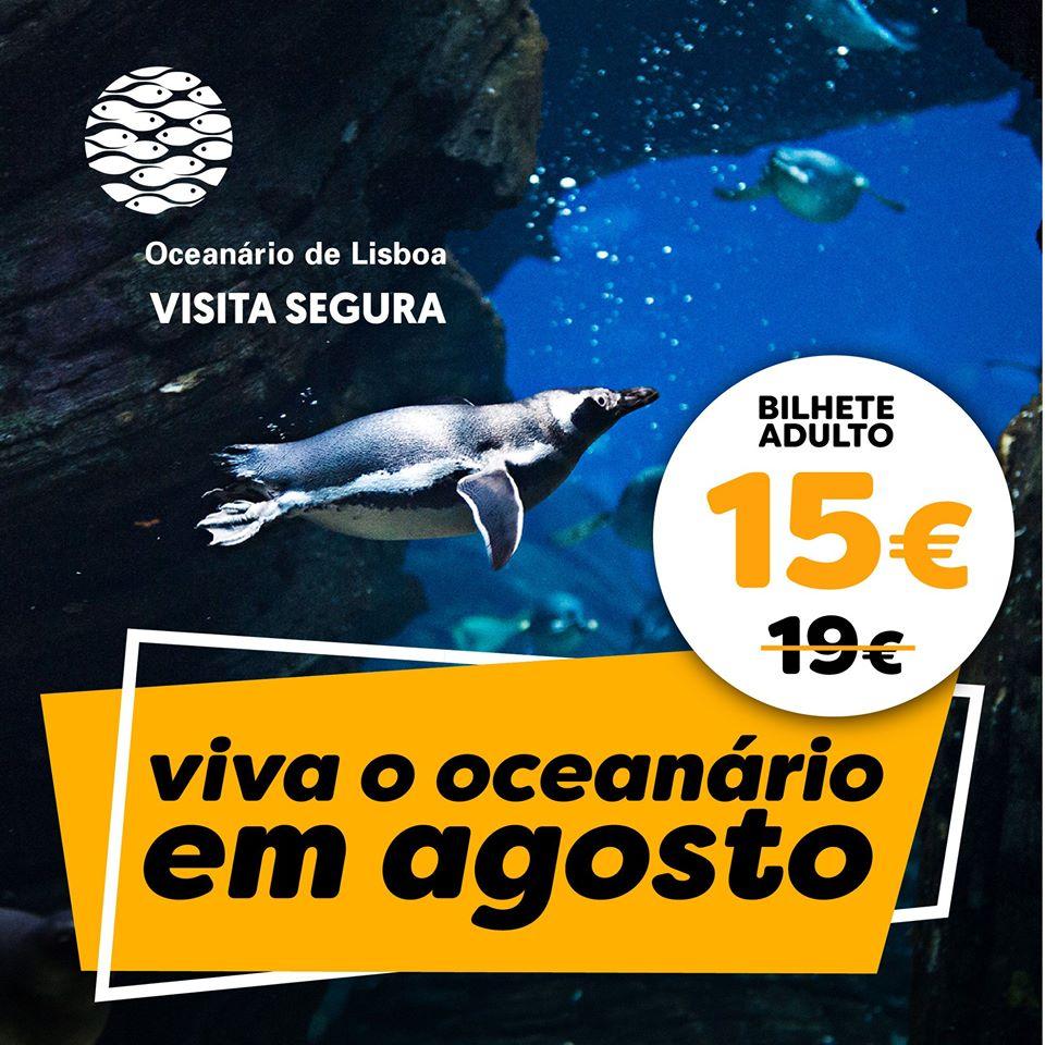 Promoção Adulto 15€ Oceanário de Lisboa Agosto 2020