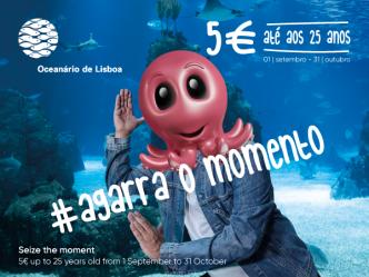 Bilhetes a 5€ no Oceanário de Lisboa para menores de 25 anos até 31 de Outubro.