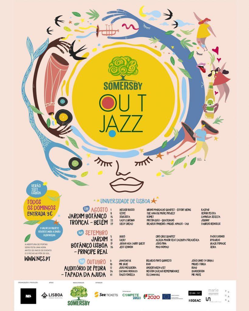 Cartaz do Out Jazz de 2021 - Belém, Príncipe Real e Ajuda
